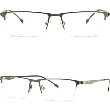 700fe4d0b264 Gray Grey Half Rim Thin Light Men s Women s Titanium Frames Prescription  Glasses