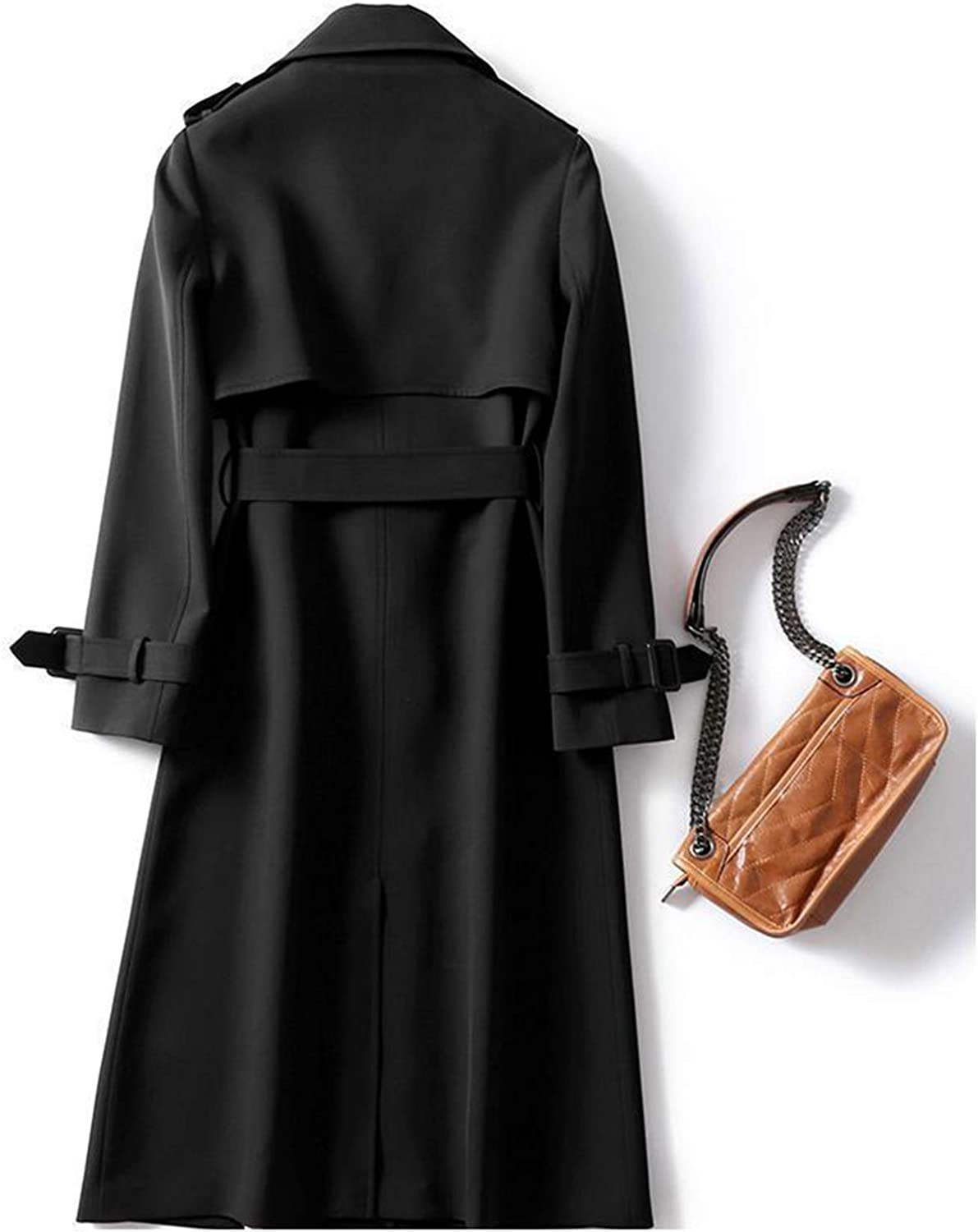 Womens Trench Coat 3 Buttons Mid-length Double-Breasted Trench Coat with Belt Autumn and Winter Coat