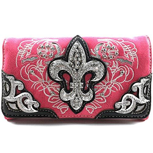 Justin West Rhinestone Fleur De Lis Angel Wings Leather Wristlet Trifold Wallet Attachable Long Strap (Hot Pink)