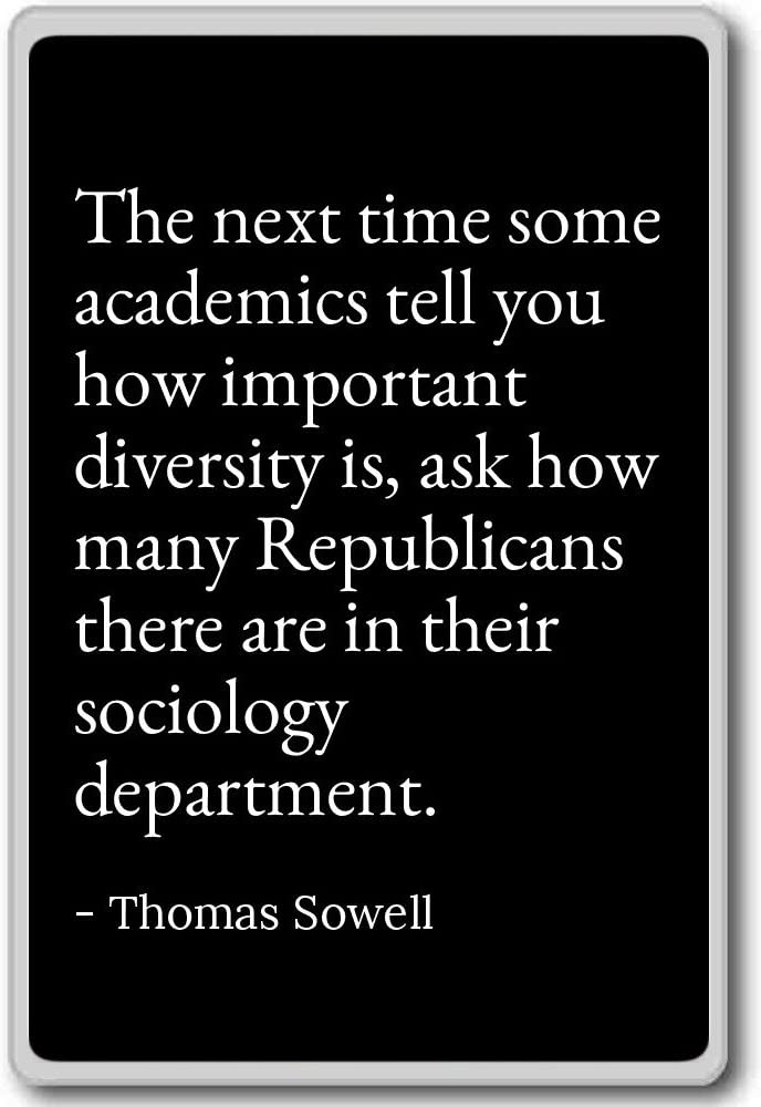 The next time some academics tell you how imp... - Thomas Sowell quotes fridge magnet, Black