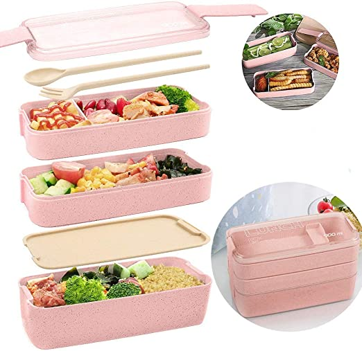 Caja Bento para niños y adultos, compartimento 3 en 1, cajas de ...