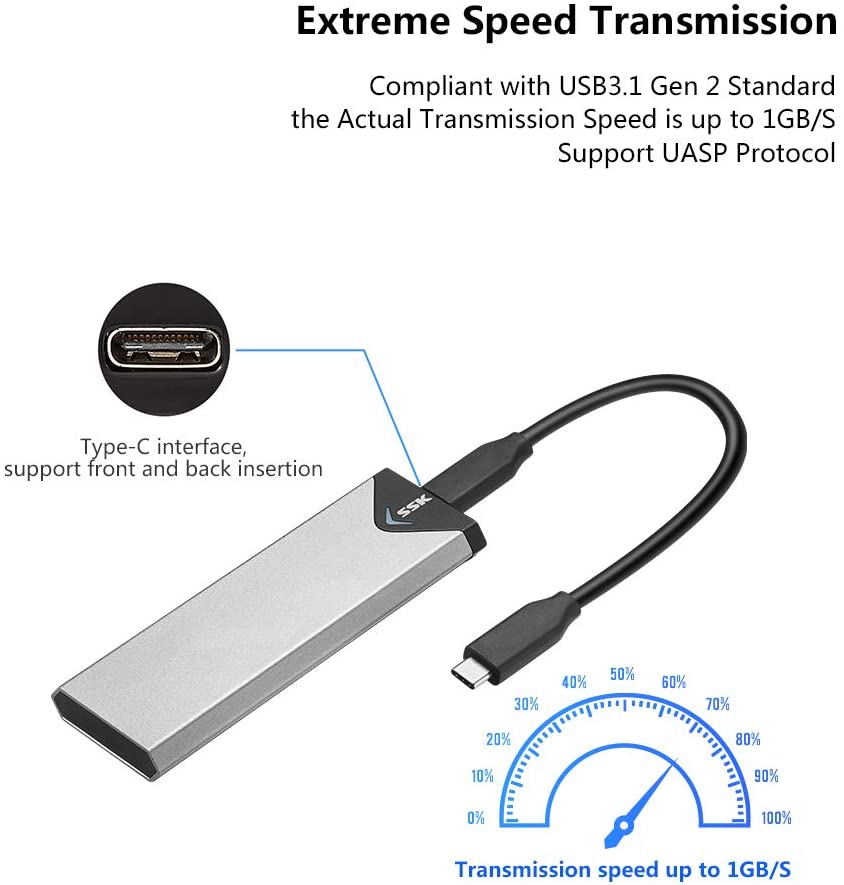 SSK Aluminum M.2 NVME SSD Enclosure Adapter, USB 3.1 Gen 2 (10 Gbps) to NVME PCI-E M-Key Solid State Drive External Enclosure (Fits only NVMe PCIe 2242/2260/2280): Computers & Accessories