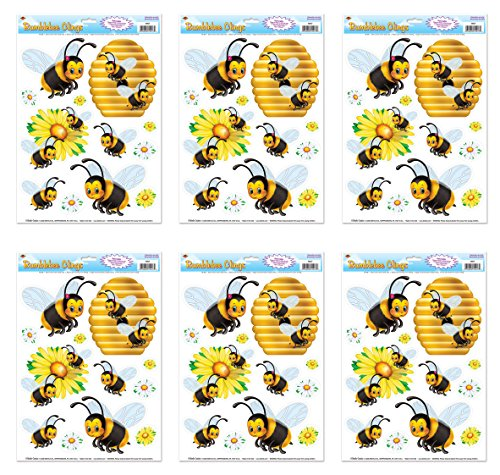 Beistle S54427AZ6, 6 Sheets Bumblebee Window Clings, 12