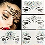 Kotbs 4 Sets Mermaid Face Gems Rave Festival Face Jewels Glitter Body Crystal Sticker Bindi Rainbow Tears Rhinestone Temporary Tattoo Face Body Gems Festival Jewels