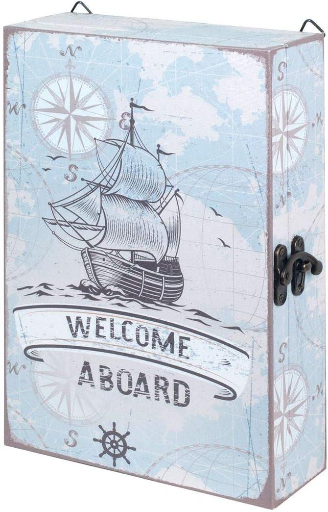 SIGRIS Armoire Boite /à cl/és Bois Murale Neuve Crochets Porte cl/és d/écoration Marine Nautique