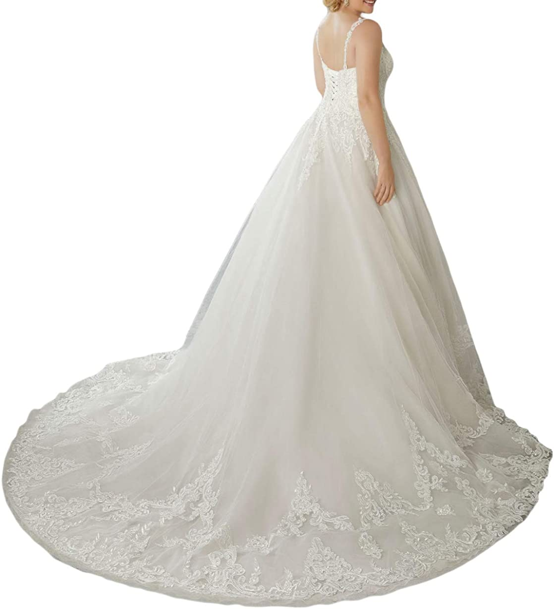 SongsurpriseMall Brautkleider Hochzeitskleid V Ausschnitt Spitze T/üll Ballkleider Spaghetti Hochzeitskleider mit Schn/ürung
