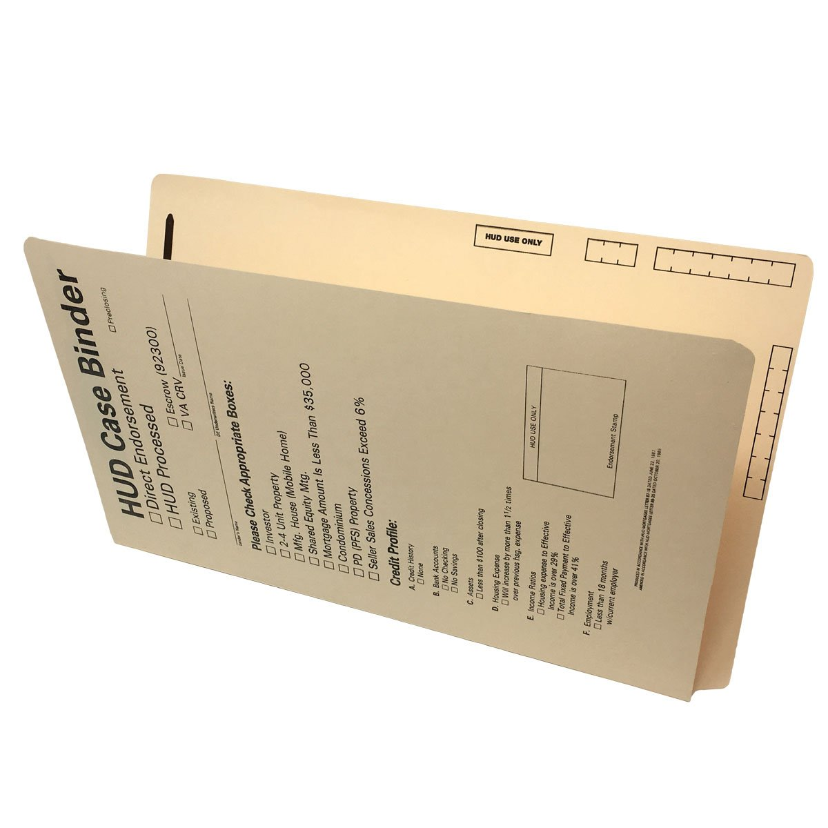 HUD Case Binders, 15 pt Manila, Legal Size, End/Top Tabs (Box of 50) by Ecom Folders