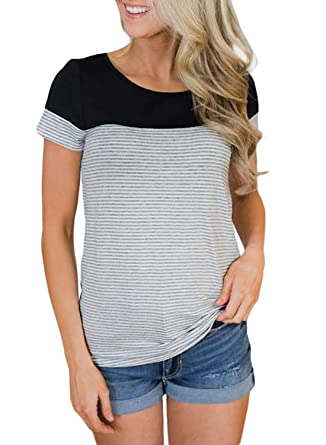 d16a2441f4 BLENCOT Womens Casual Round Neck Striped Color Block Short Sleeve T Shirts  Blouses Tops Black Small