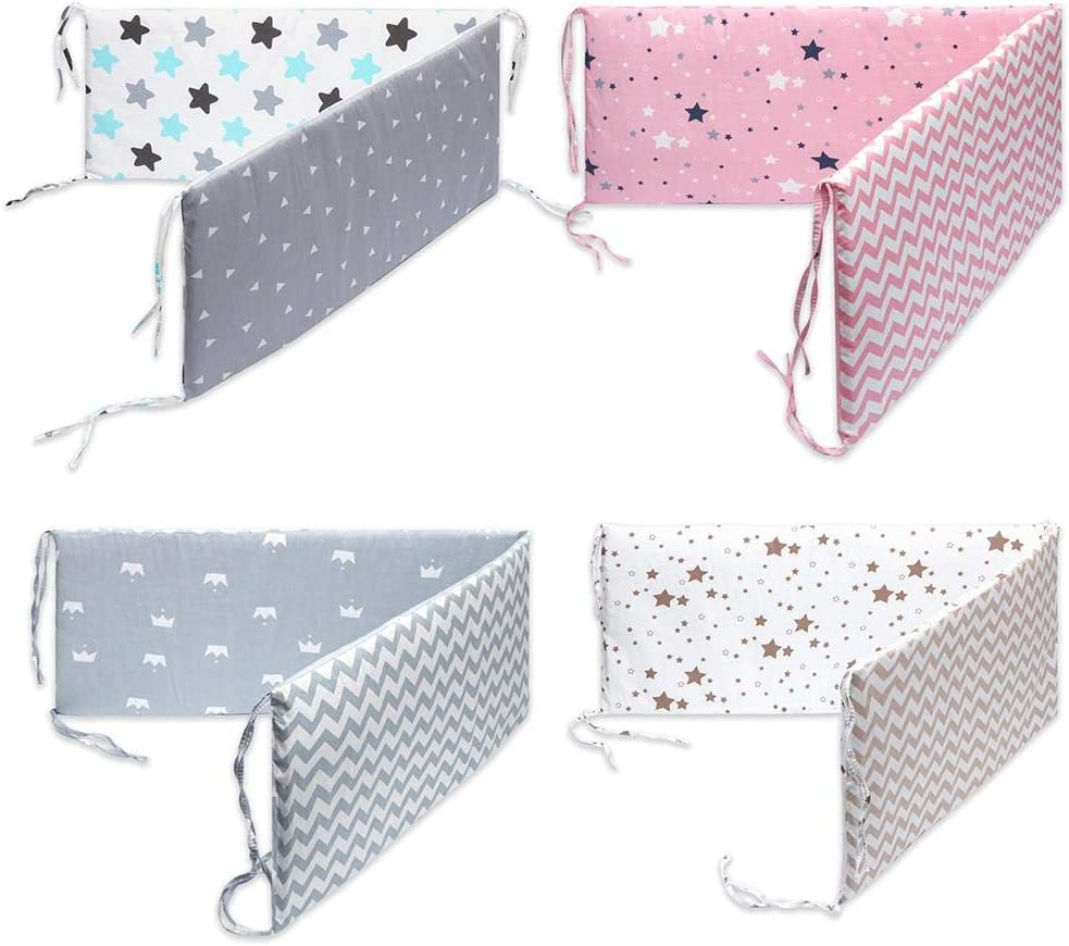 Lamptti Cotton Breathable Crib Bumper Pads Washable Padded Crib Liner Set for Baby Boys Girls Safe Bumper Guards Crib Rail Padding