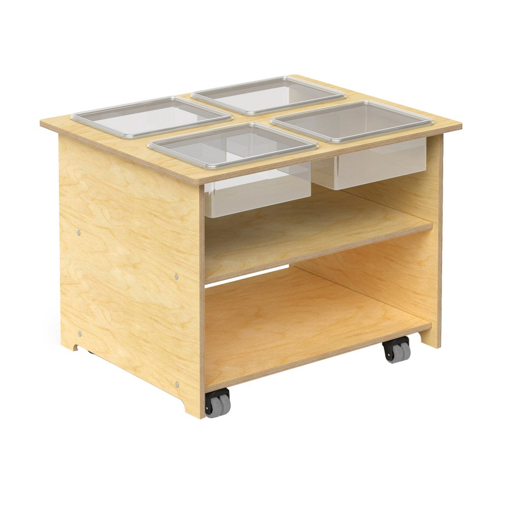 Whitney Brothers Wooden Mobile Sensory Table with Trays and Lids, Interactive Learning Table for Children by Whitney Brothers