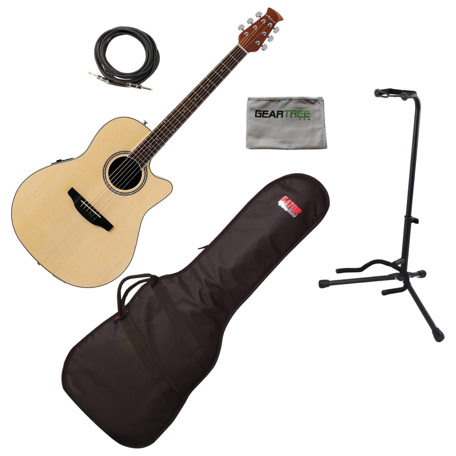 Ovation AB24II-4 APPLAUSE STD MID Acoustic Electric Guitar, NATURAL w/Gig Bag, by Ovation