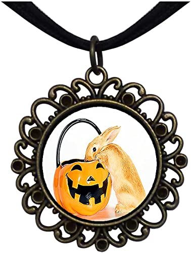 GiftJewelryShop Bronze Retro Style Rabbit on Jack O Lantern Pumpkin Flower Pendant Charm Necklaces #22