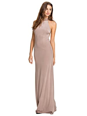 JJ-GOGO Women's Halterneck Evening Party Dress (L, Beige)