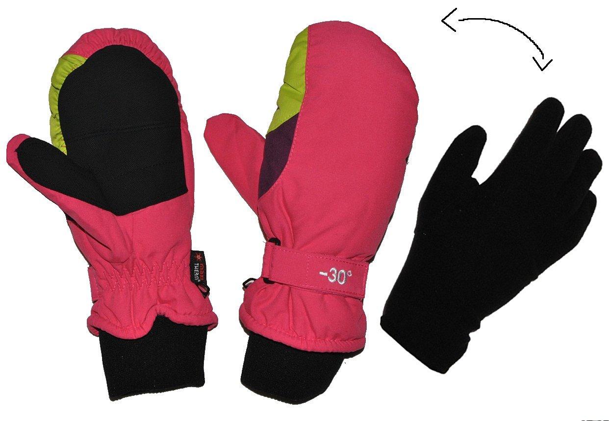 2 in 1: Fingerhandschuhe im Fausthandschuh für Kälte bis -30 Grad - wasserdicht Thinsulate - sehr warm - Thermo gefüttert - Größe 7 - Thermohandschuhe pink rosa