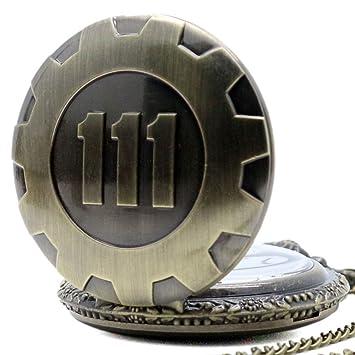 Primi Retro cadena de cuarzo reloj de bolsillo Fallout 4 tema colgante Vault 111 bronce: Amazon.es: Hogar
