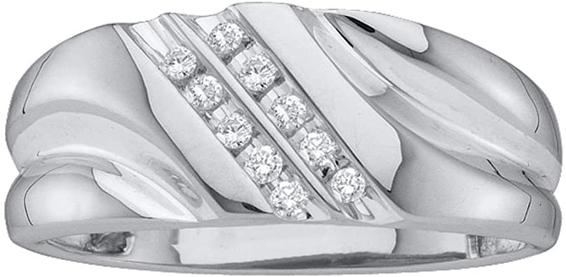1//8 cttw. Sonia Jewels 10K White Gold Channel Set Round Cut Diamond Mens Wedding Band OR Fashion Ring