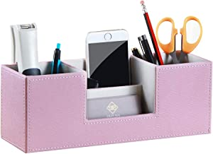 Desk Organizer Office Supplies Pen Holder with 4 Compartments Storage Box for Pencils/Business Cards/Scissors/Remote Controls/Keys/Collections/Accessories, PU Leather Catchall Caddy for Men Women