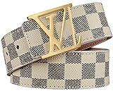 HoiSam Luxury Designer Checker style Belt for woman man unisex (105CM...