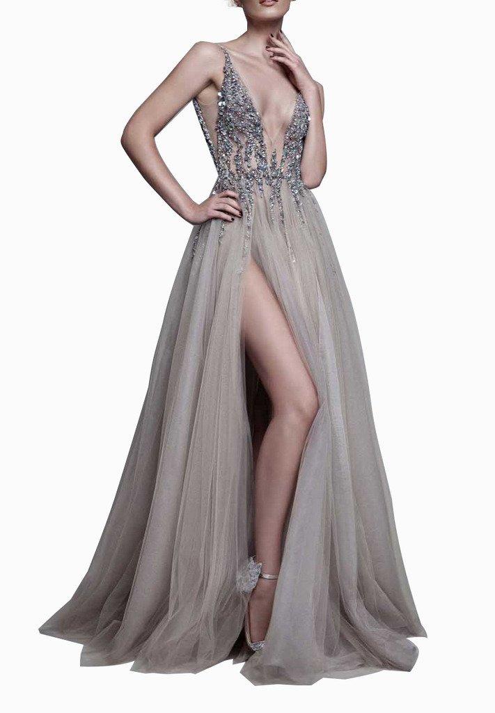 Glamorous Sexy Evening Dresses 2017 Deep V-Neck A-Line Beaded Bodice with Slit Tulle Prom Dresses Long Vestido de Fiesta Grey-US6