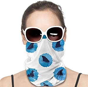 Circles Shark Fins Pattern Seamless Rave Bandana Neck Gaiter Tube Headwear Face Bandana Scarf for Women Men