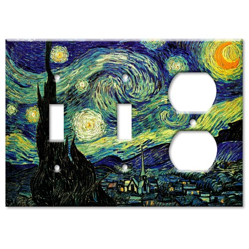 (Van Gogh: Starry Night Metal Wall Plate - Triple Gang Combo - 2 Toggles / Outlet)