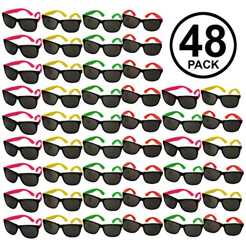 Funny Party Hats Sunglasses In Bulk - 48 Pack - Neon Party Sunglasses - Sunglasses Pack - Party Favors
