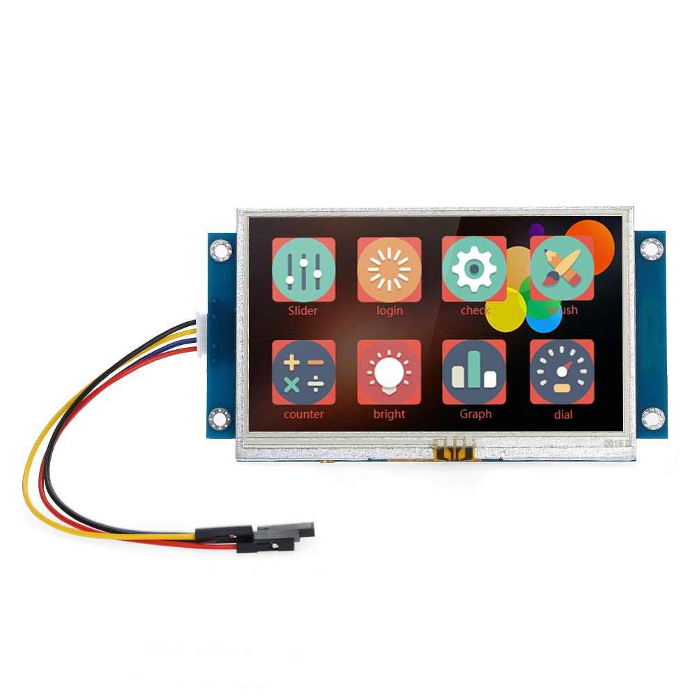 KKmoon 4.3'' Inch TFT LCD Display Serial Port Color LCD Module Enhanced HMI Intelligent Smart USART Serial Touch Screen Panel for Arduino Kits Dupont Raspberry Pi