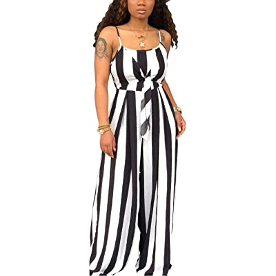 Women's Sexy Spaghetti Strap Rompers Bodycon Scoop Neck Sleeveless Ruffles Floral Jumpsuits with Pockets Belt: Clothing