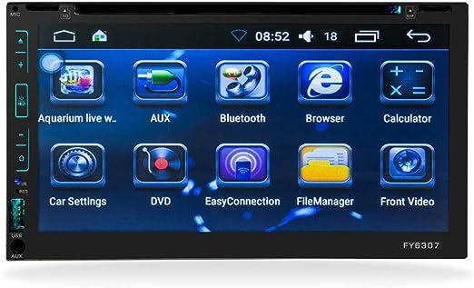 QWERDF Receptor Estéreo De Coche De Doble DIN con Pantalla Táctil Multimedia De 6.95 Pulgadas, con Navegación Incorporada, Bluetooth, Reproductor De CD/DVD Compatible con GPS/WiFi/TV, Auxiliar: Amazon.es: Hogar