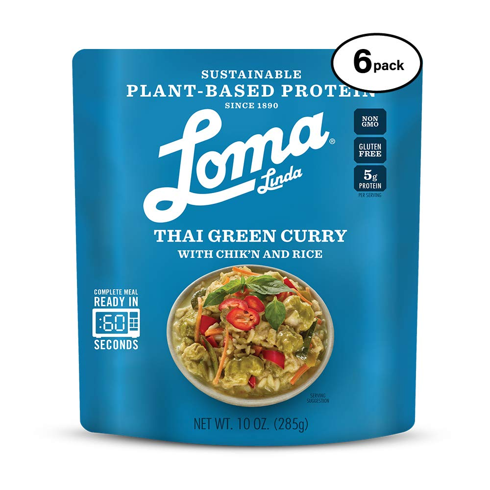 Loma Linda Blue - Plant-Based Complete Meal Solution - Heat & Eat Thai Green Curry (10 oz.) (Pack of 6) - Non-GMO, Gluten Free by Loma Linda (Image #1)
