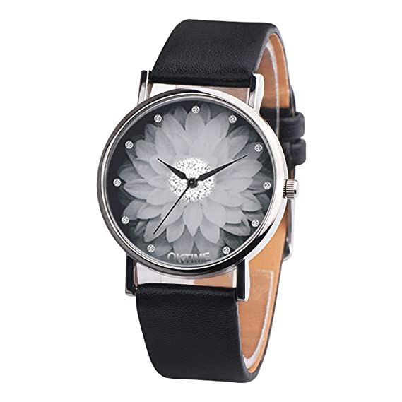 Womens Men Casual watches Canvas Leather Analog Quartz Watch Lotus Fashion Watch,GINELO (Black