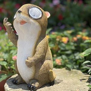 NuAnYI Solar Outdoor Light Animal Ornament Lamp Garden Path Lawn Decorsation Garden Novelty Groundhog Animal,A