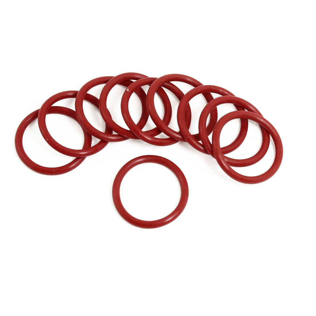 10x Flexible en caoutchouc souple O Ring Joint d'étanchéité Rondelles remplacement Red 30mm x 3mm Sourcingmap a13050600ux0065