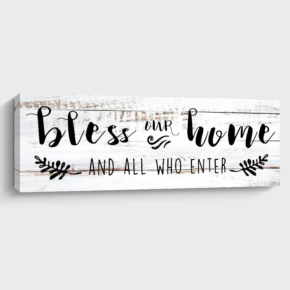 Bless Our Home and All Who Enter Decorative Wall Sign Art, Rustic Farmhouse Wall Home Decor for Living Room, Bedroom or Bathroom, 6 X 17 Inch, White
