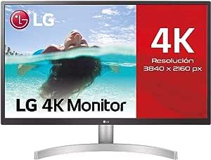 "LG 27UL500-W - Monitor de 68,4 cm (27"") UHD (3840 x 2160, IPS, 16:9, DisplayPort x1, HDMI x2, AUX x1, , 60 Hz, Antireflejo), Blanco"