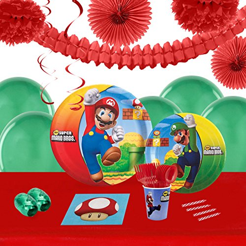 Super Mario Bros Childrens Birthday Party Supplies - Tableware and Decoration Pack (16)