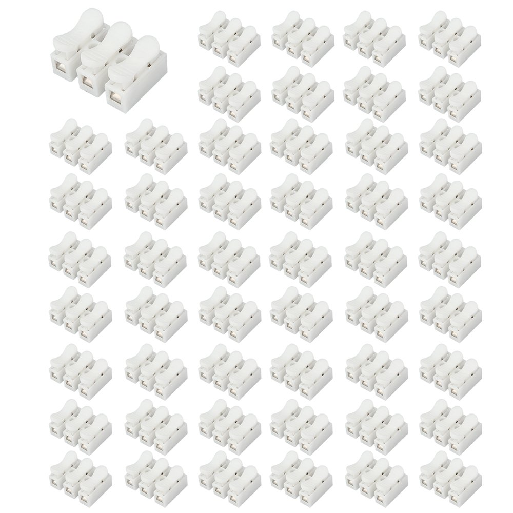 SENZEAL 50x Wire Connector Block PP Fireproof Electrical Terminal Blocks Quick Electric Connectors for Wiring CH3 White