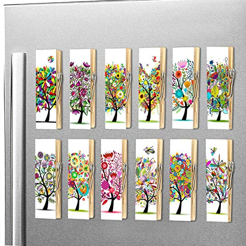 12pcs Refrigerator Magnet Clips by Cosylove-Decorative Magnetic Clips Made of Wood with Beautiful Patterns-Super Fridge Magnets for House Office Use - Display Photos,Memos, Lists, Calendars (Tree)