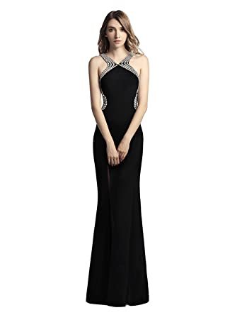 Sarahbridal Long Side Slit Prom Dresses Crystal Shuang Ma Party Ball Gowns Dress With Beads For Women SLX451: Amazon.co.uk: Clothing