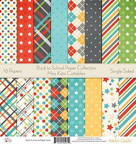 Back to School Printed Scrapbook Paper Set By Miss Kate Cuttables: Craft Supplies For Scrapbooking, Single - Sided 12