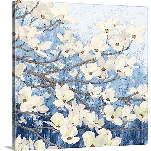Dogwood Blossoms II Indigo Canvas Wall Art Print, 30