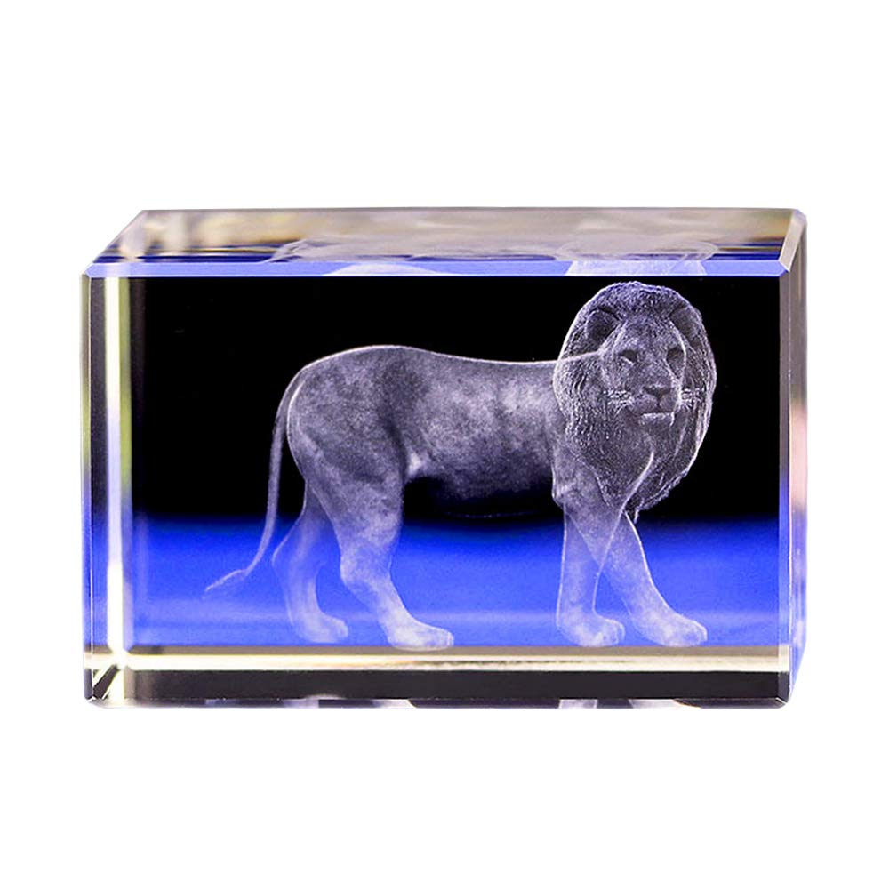 Crystal Glass Cube Eagle Model Paperweight 3D Laser Engraving Figurines Feng Shui Souvenirs Crafts (Lions) by qianyue