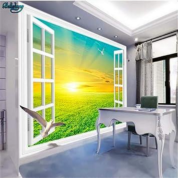 Large Custom White Window Wilderness Sunrise View 3D Tv Living ...