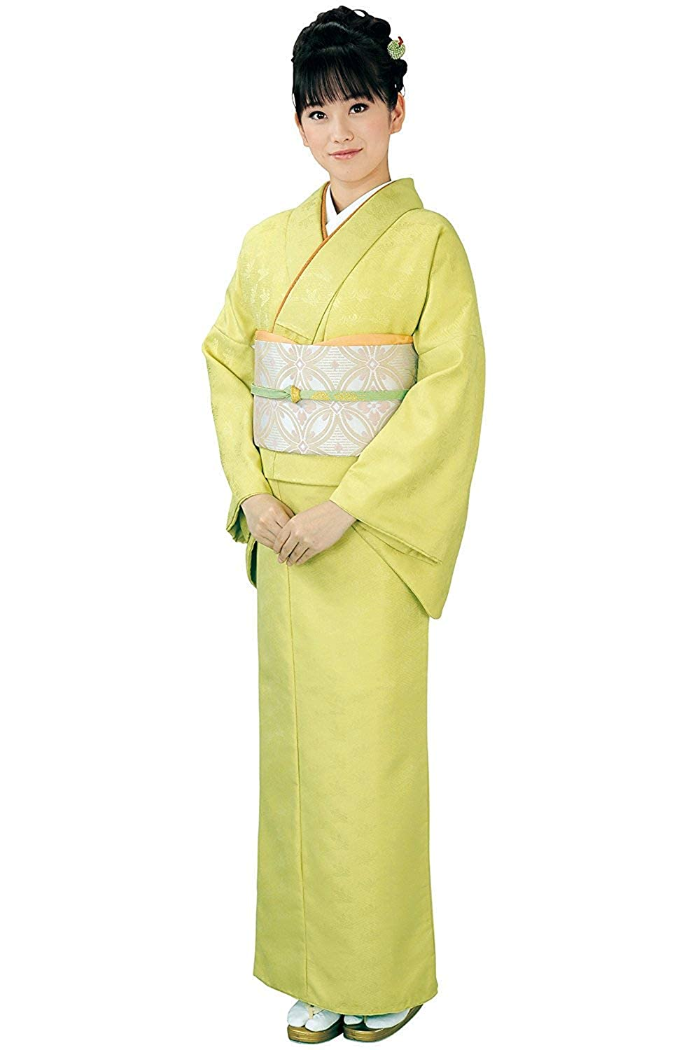 1 KYOETSU Women's Japanese Awase Kimono Solid color Background Pattern