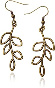 Bronze/Brass Tone Olive Tree Branch Leaf Earrings, Handmade Fishhook Dangle Womens Earring Set