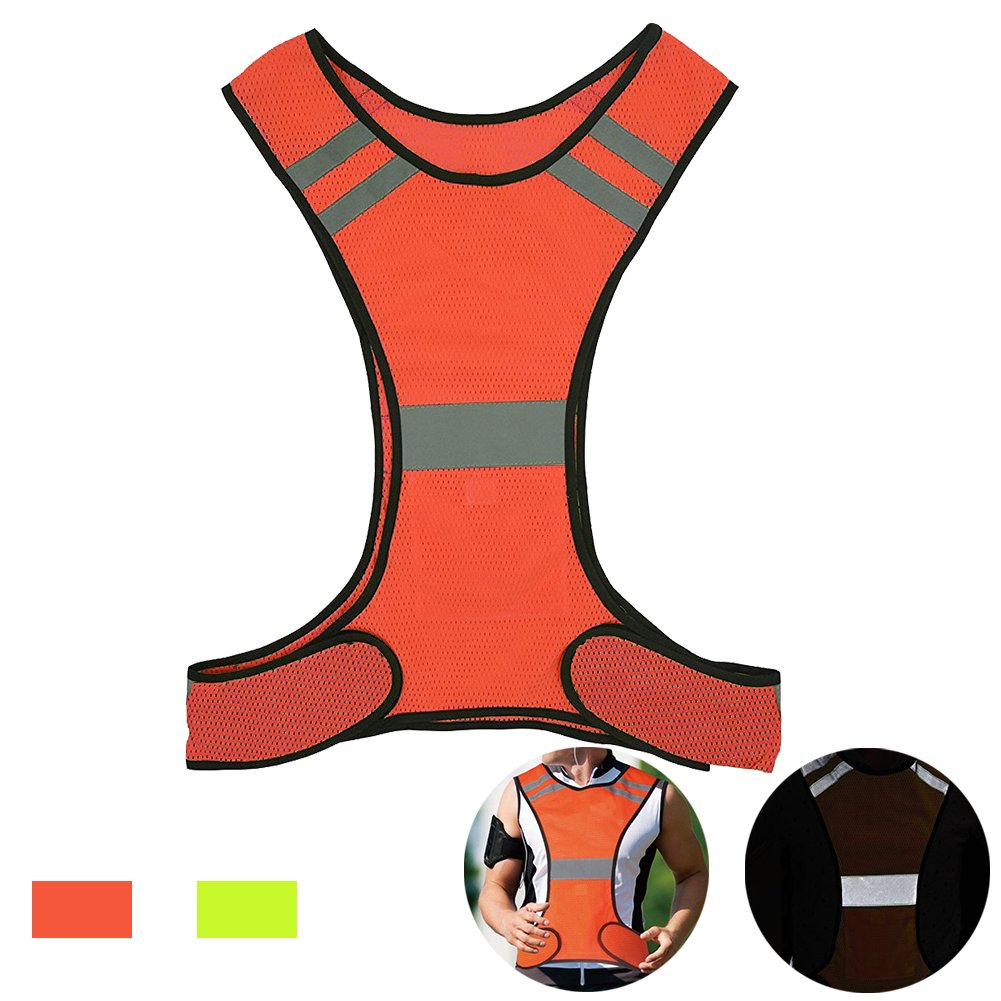 AUOON Reflective Night Running Vest with Adjustable Strap & Breathable Holes, Ultrathin Lightweight Safety Vest with 360° High Visibility for Running, Jogging, Cycling, Hiking, Walking, Red by AUOON