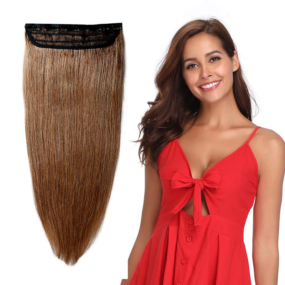 100% Remy Clip in Human Hair Extensions 16-22inch Natural Hair Grade 7A Quality 3/4 Full Head 1 Piece 5 Clips Long Thick Soft Silky Straight for Women Beauty 18'' /18 inch 90g ,#6 Light Brown) by MY-LADY