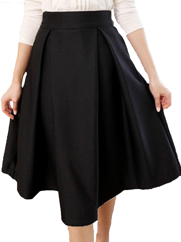 Vijiv Women's Dress Pleated Skirts High Waist Umbrella Skirt at ...