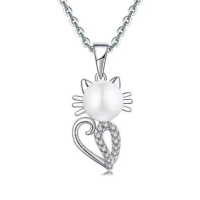 YL Collar colgante de perlas de gato para mujeres Chicas, plata de ley 925 corte