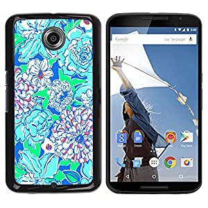 iKiki Tech / Estuche rígido - Floral Art Green Blue Nature - Motorola NEXUS 6 / X / Moto X Pro